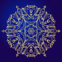 Mandala, amulet. Esoteric gold symbol on a blue background.