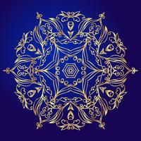 Mandala, amuleto. Símbolo de oro esotérico sobre un fondo azul.