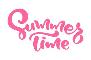 Red Calligraphy lettering phrase Summer Time. Vector Hand Drawn Isolated text