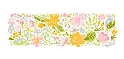Flat abstract pastel flower herb bouquet vector