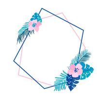 Guirnalda geométrica de verano con flor de palmera tropical y lugar para texto