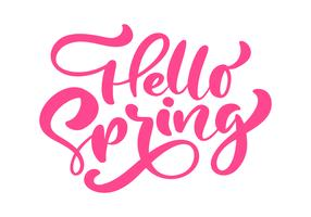 Red Calligraphy lettering phrase Hello Spring