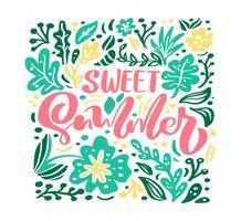 Tarjeta de felicitación de vector de flor con texto dulce verano
