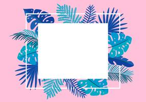 Summer Vector floral frame tropical leaves palm with place for text