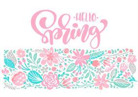 Ramo de flores vector tarjeta de felicitación con el texto Hola primavera cita manuscrita