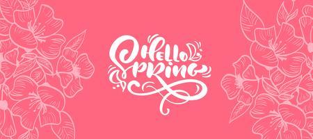 Quadro floral de vetor para cartão com texto Olá Primavera