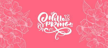 Marco floral de vector para tarjeta de felicitación con texto Hola primavera