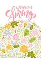 Flower Vector greeting card with text Welcome Spring
