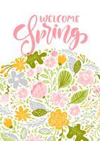 Tarjeta de felicitación de vector de flor con texto Bienvenido primavera