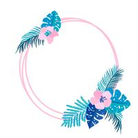 Geometric Summer wreath with tropical palm flower and place for text