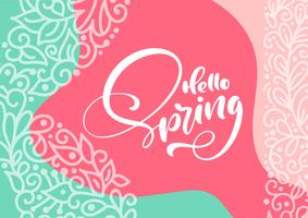 Abstract floral vector greeting card with text Hello Spring