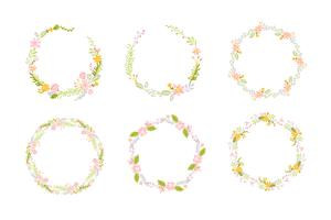 Set of Spring flower herbs wreath. Flat abstract Vector garden frame