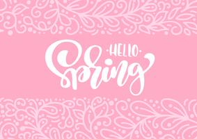 Vektorgrußkarte mit Text hallo Frühling