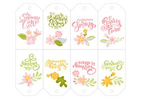 Set of Spring flower herbs tags with calligraphic lettering text vector