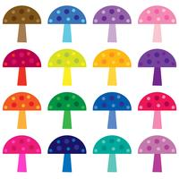 colorful mushrooms vector clipart