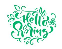 Hello Spring Calligraphy lettering phrase Hello Spring