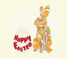 Fröhliche Ostern mit Doodle floral Bunny Bilderrahmen