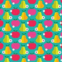 Patrón retro de manzanas y peras sobre fondo azul