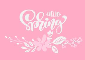 Bouquet of flowers vector greeting card with text Hello Spring