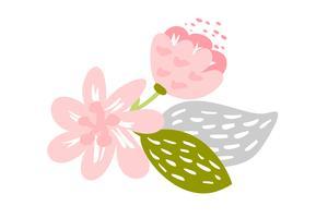 Flor plana isolada de vetor no fundo branco