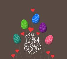 trees growing easter eggs background