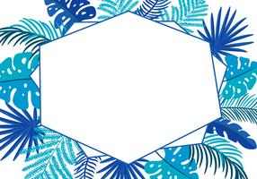 Summer Vector floral abstract leaves frame tropical palm with place for text