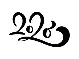 black number text 2020. Hand drawn vector lettering calligraphy