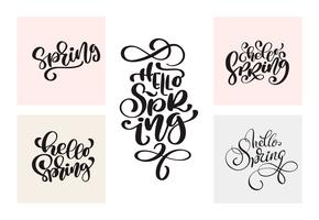 Set of Spring Calligraphy lettering handwritten phrases