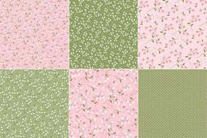 Flores cor-de-rosa & verdes & às bolinhas vetor
