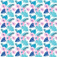 Vector summer seamless pattern with flat flowers and Tropical Leaves of Monstera