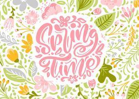 Cartão de saudação de vetor de flor com texto tempo de primavera