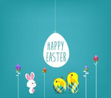 Easter poster. Hanging eggs on blue background with bunny and handwritten text