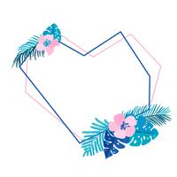 Geometric heart Summer wreath with flower tropical palm and place for text