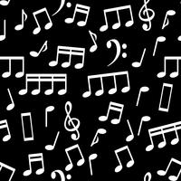 Musical Notes, White on Black, Seamless Pattern Background Vector Illustration