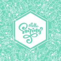 Geometric turquoise frame with handwritten text Hello Spring vector