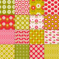 seamless retro fruit and flower patterns