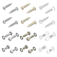 Screws Washers Hardware Isometric Set Vector Illustration