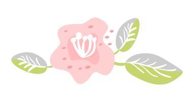 Vector lindo aislado flor sobre fondo blanco