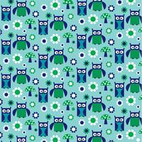 blue green owl and mushroom pattern