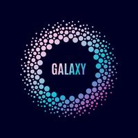 Cartel de la galaxia. Marco de círculo de Halfton