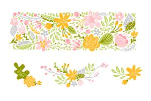 Flower Vector set in pastel colors. Isolated floral flat illustration on white background