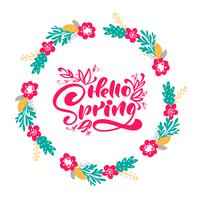 Floral Vector wreath background with calligraphic lettering text Hello Spring