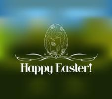 Easter greeting card with decorative egg on a blurred background