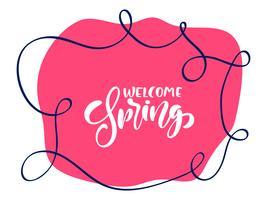 Vintage vecteur fond rouge avec texte de lettrage calligraphique Bienvenue printemps