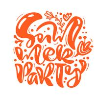 Scandinavian calligraphy lettering composition text Summer Party
