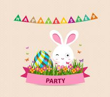 Happy Easter party bunny eggs and bunny