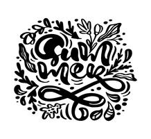 Carte de voeux vecteur fleur d'encre noire avec texte été