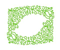 Vector green monoline calligraphy flourish frame for greeting card