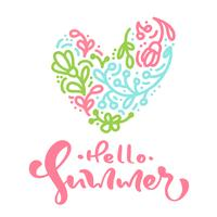 Scandinavian calligraphy lettering text Hello Summer with floral heart