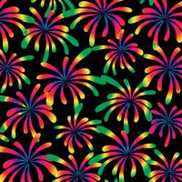 rainbow fireworks pattern on black background